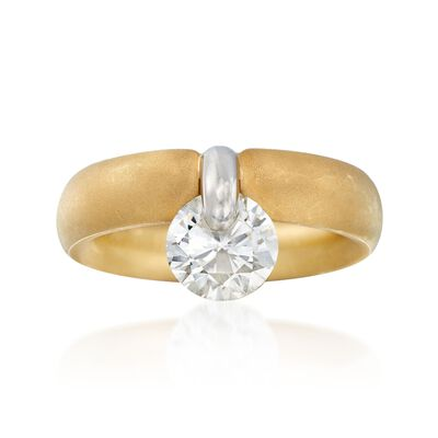 C. 2000 Vintage 1.50 Carat Diamond Drop Ring in Platinum and 18kt Gold, , default
