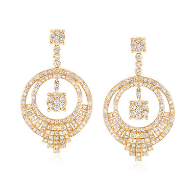 3.00 ct. t.w. Diamond Open-Circle Drop Earrings in 14kt Yellow Gold