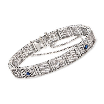 C. 1950 Vintage .30 ct. t.w. Synthetic Sapphire Bracelet with Diamond Accent in 14kt White Gold