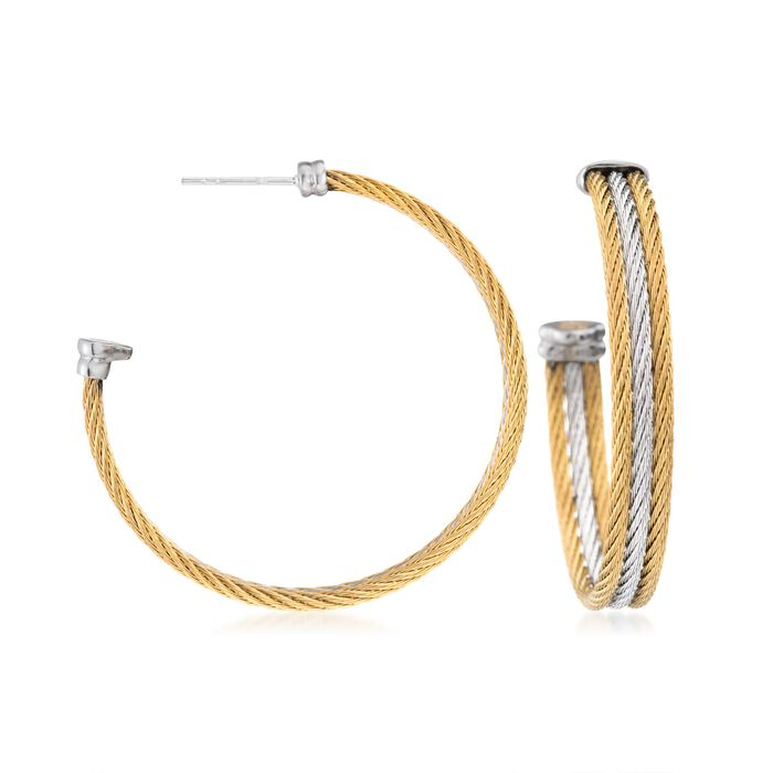 ALOR Classique Yellow and White Stainless Steel Cable Hoops with 18-Karat White Gold, , default