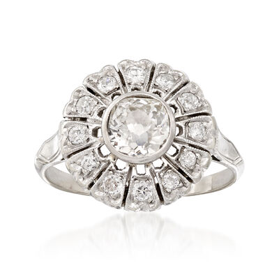 C. 1950 Vintage .90 ct. t.w. Diamond Flower Ring in 14kt White Gold