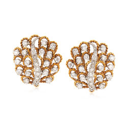 C. 1960 Vintage 3.80 ct. t.w. Diamond Cluster Clip-On Earrings in 14kt Yellow Gold, , default