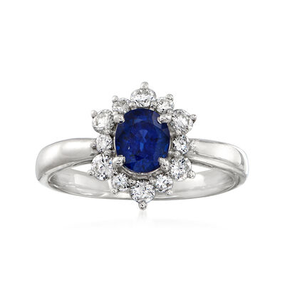 C. 1990 Vintage 1.00 Carat Sapphire and .50 ct. t.w. Diamond Ring in Platinum
