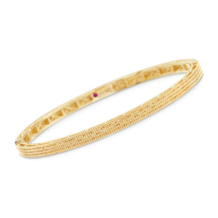 "Roberto Coin Symphony Barocco 18-Karat Yellow Gold Four-Row Bangle. 7"", , default"