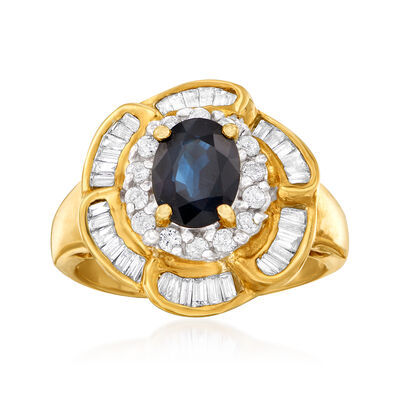 C. 1980 Vintage 1.55 Carat Sapphire and .85 ct. t.w. Diamond Floral Ring in 14kt Yellow Gold, , default