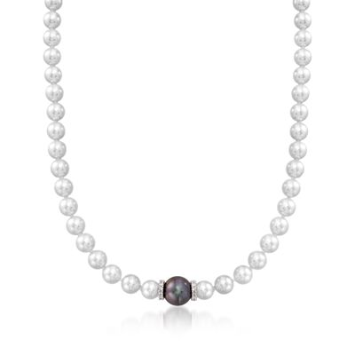 "Mikimoto ""Every Essentials"" 7-7.5mm A+ Akoya and 11mm Black South Sea Pearl Necklace With Diamonds in 18kt White Gold, , default"