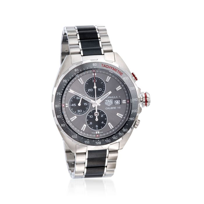 TAG Heuer Formula 1 Men's Auto Chronograph Stainless Steel Watch with Black Ceramic, , default