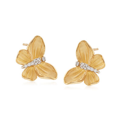 Simon G. .10 ct. t.w. Diamond Butterfly Earrings in 18kt Yellow Gold