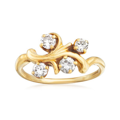 C. 1980 Vintage .65 ct. t.w. Diamond Branch Ring in 14kt Yellow Gold, , default