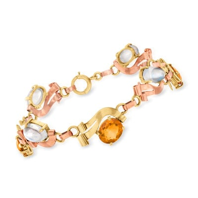 C. 1940 Vintage Moonstone and 6.40 ct. t.w. Citrine Bracelet in 14kt Two-Tone Gold