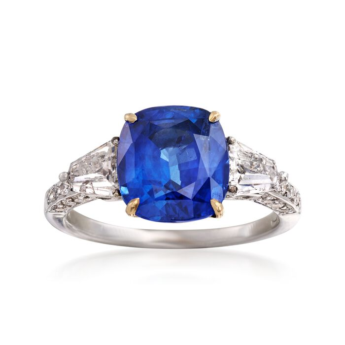 C. 1990 Vintage 4.95 ct. t.w. Blue and White Diamond Ring in 18kt White Gold. Size 6.5