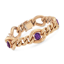 C. 1990 Vintage 4.50 ct. t.w. Amethyst Link Bracelet in 14kt Yellow Gold, , default
