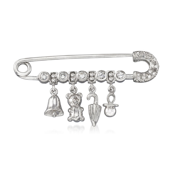 C. 1990 Vintage .35 ct. t.w. Diamond Charm Safety Pin in 18kt White Gold