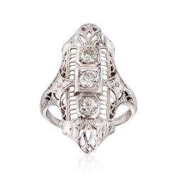 C. 1950 Vintage .35 ct. t.w. Diamond Dinner Ring in 18kt White Gold, , default