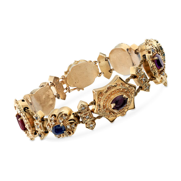 "C. 1950 Vintage 6.70 ct. t.w. Multi-Stone Charm Bracelet in 14kt Yellow Gold. 8"", , default"