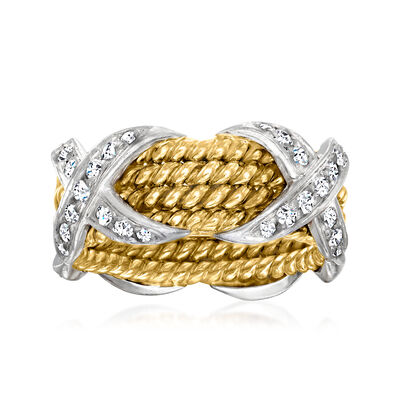 """C. 1980 Vintage Tiffany Jewelry """"Schlumberger"""" .54 ct. t.w. Diamond X Ring in Platinum and 18kt Yellow Gold"""