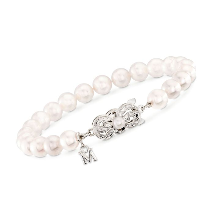 "Mikimoto 6.5-7mm 'A' Akoya Pearl Bracelet with 18-Karat White Gold. 7"", , default"