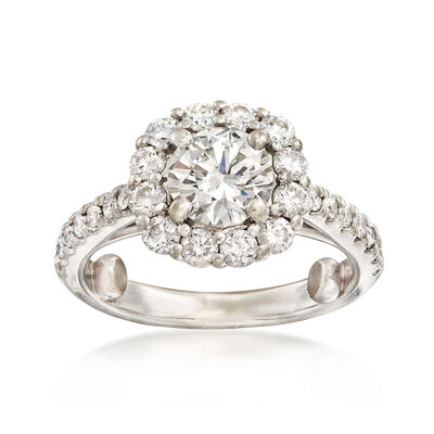 C. 2000 Vintage 1.79 ct. t.w. Diamond Halo Ring in 14kt White Gold
