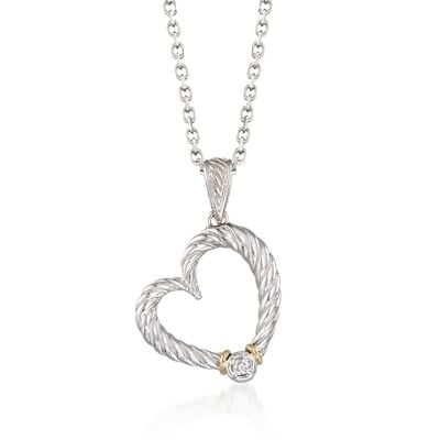 "Phillip Gavriel ""Italian Cable"" Diamond-Accented Heart Pendant Necklace in Sterling Silver and 18kt Gold, , default"