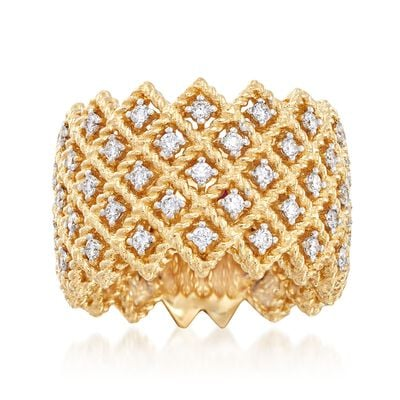 "Roberto Coin ""Barocco"" 1.10 ct. t.w. Diamond Five-Row Ring in 18kt Yellow Gold, , default"