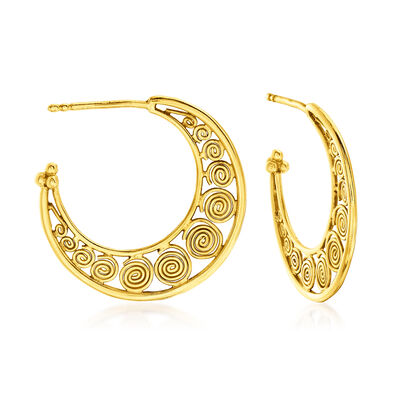 C. 1990 Vintage 18kt Yellow Gold Swirl C-Hoop Earrings