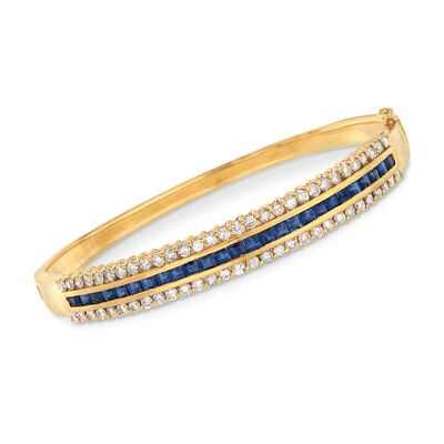 C. 1980 Vintage 2.00 ct. t.w. Sapphire and 1.80 ct. t.w. Diamond Bangle Bracelet in 18kt Yellow Gold, , default