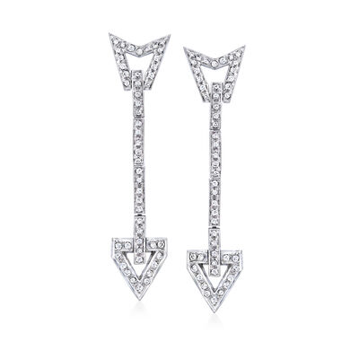 C. 1970 Vintage .80 ct. t.w. Diamond Arrow Linear Drop Earrings in 14kt White Gold