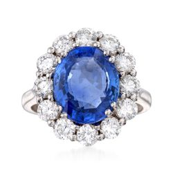 C. 2000 Vintage 5.69 Carat Sapphire and 1.60 ct. t.w. Diamond Ring in 18kt White Gold, , default
