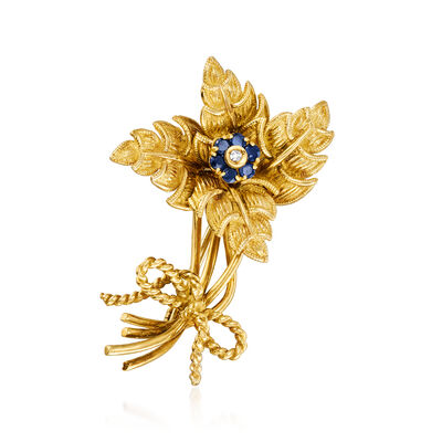 C. 1970 Vintage Tiffany Jewelry .25 ct. t.w. Sapphire and Diamond-Accented Flower Pin in 18kt Yellow Gold