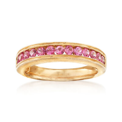 C. 1990 Vintage .80 ct. t.w. Pink Sapphire Ring in 14kt Yellow Gold, , default
