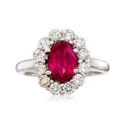 C. 1980 Vintage 1.15 Carat Ruby and .75 ct. t.w. Diamond Ring in 18kt White Gold, , default