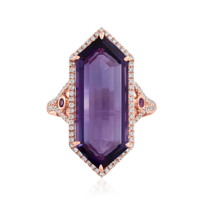 12.00 Carat Amethyst and .47 ct. t.w. Diamond Hexagon Ring with Rhodolite Garnet Accents in 14kt Rose Gold, , default