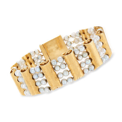 C. 1950 Vintage Lucien Piccard Cultured Pearl Bracelet in 14kt Yellow Gold, , default