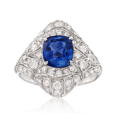 C. 2000 Vintage 2.60 Carat Sapphire and 1.26 ct. t.w. Diamond Ring in 18kt White Gold