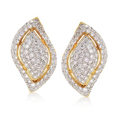 C. 1980 Vintage 2.00 ct. t.w. Diamond Leaf Earrings in 18kt Yellow Gold, , default