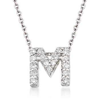 "Roberto Coin Tiny Treasures Diamond M Necklace in 18-Karat White Gold. 16"", , default"
