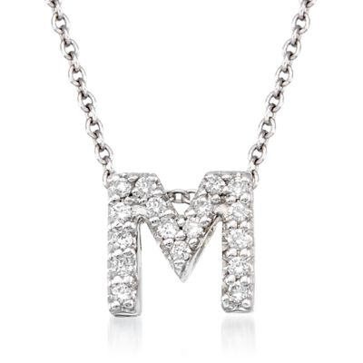 "Roberto Coin ""Love Letter"" Diamond Accent Initial ""M"" Necklace in 18kt White Gold, , default"