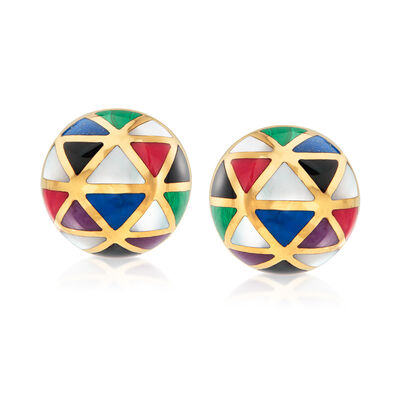 C. 1990 Vintage Asch Grossbardt Multi-Gemstone Geometric Clip-On Earrings in 14kt Yellow Gold