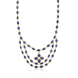 C. 1970 Vintage 36 ct. t.w. Sapphire by the Yard Flower Necklace in 14kt Yellow Gold, , default
