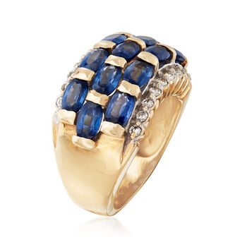 C. 1990 Vintage 3.50 ct. t.w. Sapphire and .25 ct. t.w. Diamond Ring in 14kt Yellow Gold. Size 5.25, , default