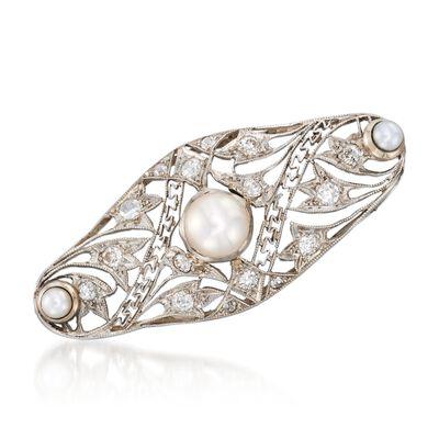 C. 1915 Vintage 6x3.4mm Cultured Pearl and .35 ct. t.w. Diamond Pin in Platinum and 14kt Gold, , default