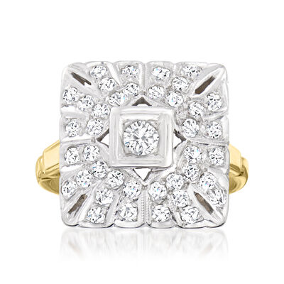 C. 1960 Vintage .90 ct. t.w. Diamond Fashion  Ring in 14kt Two-Tone Gold