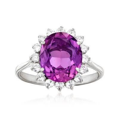 C. 1960 Vintage 4.00 Carat Purple Simulated Sapphire and .50 ct. t.w. White Spinel Ring in 18kt White Gold, , default