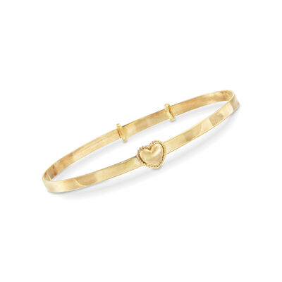 Child's 14kt Yellow Gold Heart Bangle Bracelet