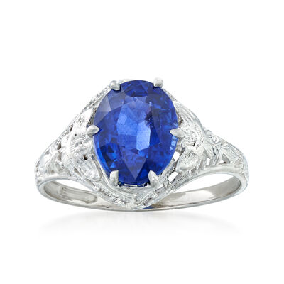 C. 1990 Vintage 2.15 Carat Sapphire Ring in 14kt White Gold, , default