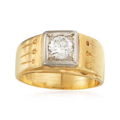 C. 1960 Vintage .50 Carat Diamond Ring in 14kt Yellow Gold