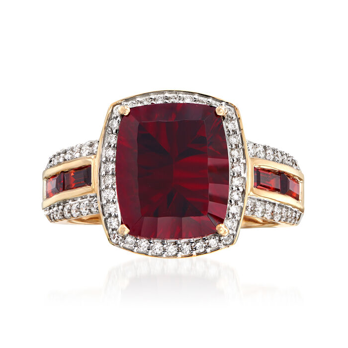 5.80 ct. t.w. Garnet and .35 ct. t.w. Diamond Ring in 14kt Yellow Gold, , default