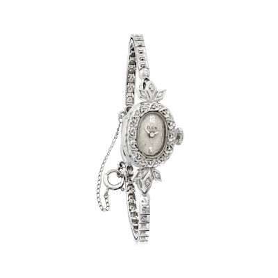 C. 1950 Vintage Women's 14mm Mechanical .20 ct. t.w. Diamond in 14kt White Gold, , default