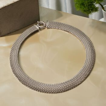 "Italian Sterling Silver Riso Necklace. 18"", , default"