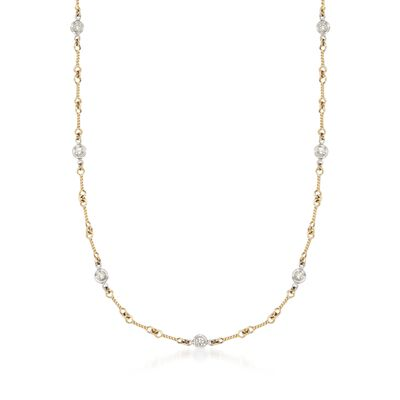 Roberto Coin .28 ct. t.w. Diamond Twist Link Necklace in 18kt Two-Tone Gold
